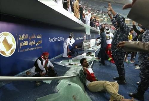 انهيار حاجز زجاجي بملعب الشيخ جابر الأحمد الدولي