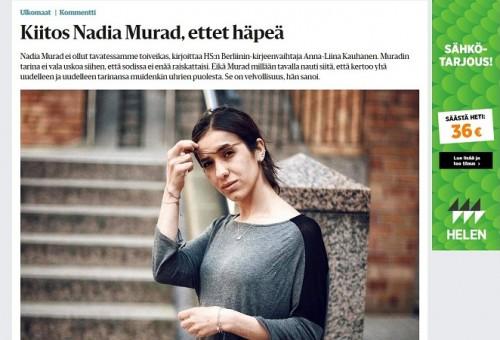 الاعلام الفنلندي يخصص مساحة استثنائية لفوز نادية مراد بجائزة نوبل